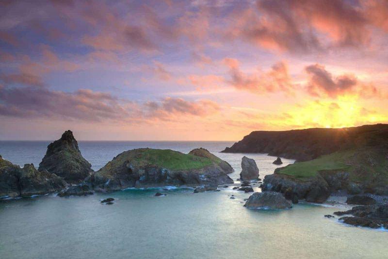 Kynance Cove Cornwall sunset