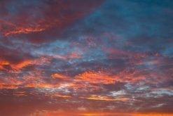 Fiery Cornwall sunset sky.