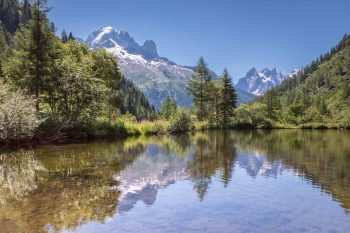 Chamonix print lake reflections