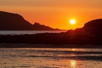 Cornwall sunset canvas prints